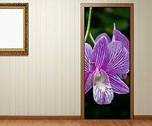 Türaufkleber Lilien Lilie lila Blume Blume Tür Bild Türposter Türfolie Druck Aufkleber 15A2354, Türgrösse:67cmx200cm