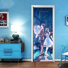 Türaufkleber mit 3D-Effekt Anime Paar 88x200cm 3D