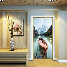Türaufkleber mit 3D-Effekt Boot Schnee Bergsee