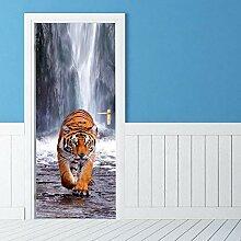Türaufkleber mit 3D-Effekt Tier Tiger Wasserfall
