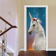 Türaufkleber mit 3D-Effekt Weißes Tierpferd des