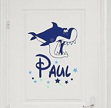 Türaufkleber mit Namen, 73045-29cm-tricolore-blau, mit bunten Sternen und Hai, Fische fürs Jungenzimmer, Kinderzimmer Jungen, Kinderaufkleber, Wandaufkleber Wandtatoos Sticker Aufkleber Namensaufkleber, Wandtattoo mit Wunschnamen