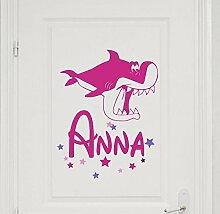 Türaufkleber mit Wunschnamen, 73045-29cm-tricolore-pink, mit bunten Sternen und Hai fürs Mädchenzimmer, Kinderzimmer Mädchen, Kinderaufkleber, Wandaufkleber Wandtatoos Sticker Aufkleber Namensaufkleber, Wandtattoo mit Namen