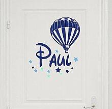 Türaufkleber mit Wunschnamen, 73049-29cm-tricolore-blau, mit bunten Sternen und Ballon, Heißluftballon fürs Spielzimmer Jungenzimmer, Kinderzimmer Jungen, Kinderaufkleber, Wandaufkleber Wandtatoos Sticker Aufkleber Namensaufkleber, Wandtattoo mit Namen