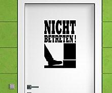 Türaufkleber Nicht Betreten Tür Anschrift Sticker Tattoo Aufkleber 3D514, Farbe:Schwarz glanz;Hohe:80cm