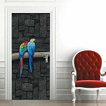 Türaufkleber PVC Wasserdicht 3D Zwei Papageien
