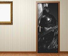 Türaufkleber Römer Schwert Waffe Soldat Helm Rom schwarz weiß Tür Bild Türposter Türfolie Türtapete Poster Aufkleber 15A1638, Türgrösse:90cmx200cm