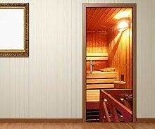 Türaufkleber Sauna Raum Spa Wellness Tür Tür Bild Türposter Türfolie Druck Aufkleber 15A2088, Türgrösse:90cmx200cm