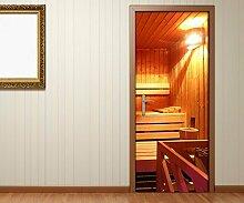 Türaufkleber Sauna Raum Spa Wellness Tür Tür