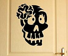 Türaufkleber Schädel Frau Skull Skelett Horror Tür Sticker Aufkleber 5M239, Farbe:Weiß Matt;Hohe:55cm