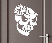 Türaufkleber Schädel Frau Skull Skelett Horror Tür Sticker Aufkleber 5M237, Farbe:Braun glanz;Hohe:70cm