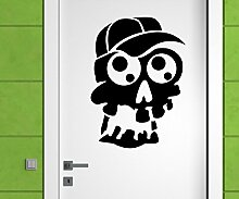 Türaufkleber Schädel Junge Skull Skelett Horror Tür Sticker Aufkleber 5M229, Farbe:Pink glanz;Hohe:70cm