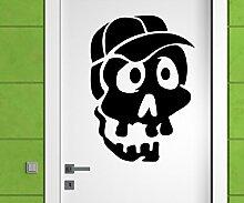 Türaufkleber Schädel Junge Skull Skelett Horror Tür Sticker Aufkleber 5M233, Farbe:Gold glanz;Hohe:70cm