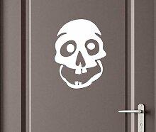 Türaufkleber Schädel Skull Totenkopf Skelett Horror Tür Sticker Aufkleber 5M224, Farbe:Rot Matt;Hohe:70cm