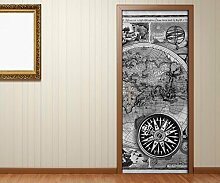 Türaufkleber schwarz weiß Welt Karte alt antik Kompass map Tür Bild Türposter Türfolie Druck Aufkleber 15A2631, Türgrösse:67cmx200cm