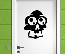 Türaufkleber Skull Schädel Totenkopf Skelett Horror Tür Sticker Aufkleber 5M223, Farbe:Gelb glanz;Hohe:50cm