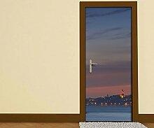 Türaufkleber Skyline Istanbul Moschee Wasser Türkei Tür Bild Türposter Türfolie Druck Aufkleber 15A2410, Türgrösse:67cmx200cm