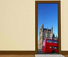 Türaufkleber Skyline London rot Bus Retro Tür Bild Türposter Türfolie Druck Aufkleber 15A2418, Türgrösse:90cmx200cm