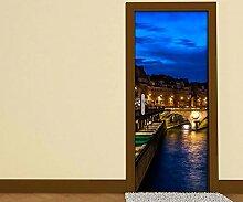 Türaufkleber Skyline Paris Brücke Frankreich Tür Bild Türposter Türfolie Druck Aufkleber 15A2423, Türgrösse:90cmx200cm