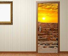 Türaufkleber Sonnenuntergang Meer Steine Stein Treppe Tür Bild Türposter Türfolie Druck Aufkleber 15A2093, Türgrösse:90cmx200cm