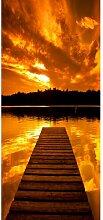 Türaufkleber Sonnenuntergang mit Anlegesteg