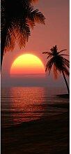 Türaufkleber Sonnenuntergang mit Palmen