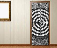 Türaufkleber Sport Dart Darts Zielscheibe schwarz weiß Tür Bild Türposter Türfolie Türtapete Poster Aufkleber 15A1784, Türgrösse:67cmx200cm