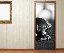 Türaufkleber Sport Helm Feld Spiel schwarz weiß Tür Bild Türposter Türfolie Türtapete Poster Aufkleber 15A1791, Türgrösse:90cmx200cm