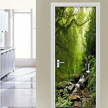Türaufkleber Wandbild, Green Forest Landscape 3D