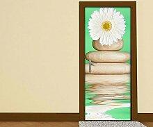 Türaufkleber Wellness Blume weiß Steine Wasser