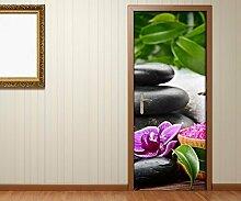 Türaufkleber Wellness Feng Shui Blume Steine Tür