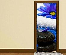 Türaufkleber Wellness Spa Blumen blau Steine