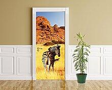 Türaufkleber - Zebra vor Einem Gebirge - 90 x 200