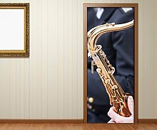 TüraufkleberMusik Konzert Kunst Saxophon Tür Bild Türposter Türfolie Türtapete Poster Aufkleber 15A603, Türgrösse:67cmx200cm
