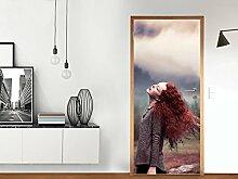 Türdeko - für Tür Standardgröße Rahmenaußenseite (Größe: 86 x 198,5 cm) | Design Tür-Folie Sticker Aufkleber selbstklebend Tür renovieren Innentür | Design Motiv Redhead