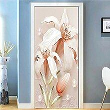 Türfolie Fototapete Tür 3D Geprägte Lilienblume