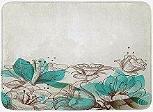 Türkis Badematte, Retro Blumen Hintergrund mit