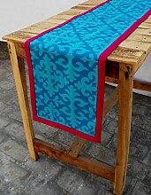 Türkis Läufer, marokkanische Print, hell rosa Grenze, Baumwolle Tischläufer, abnehmbare Quaste, Bohemian, Größe erhältlich, baumwolle, blau, 14x72