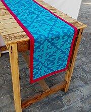 Türkis Läufer, marokkanische Print, hell rosa Grenze, Baumwolle Tischläufer, abnehmbare Quaste, Bohemian, Größe erhältlich, baumwolle, blau, 14x24