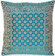 Türkis / Turquoise Indische Seide Deko Kissenbezüge 40 cm x 40 cm, Extravaganten Deko Kissenbezüge für Wohnzimmer und Schlafzimmer Dekoration, Kissenhülle aus Indien. Angebot gültig solange der Vorrat reich