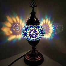 Türkisch/Marokkanische/Tiffany Stil Glas Schreibtisch Tisch Lampe 29cm - Baum