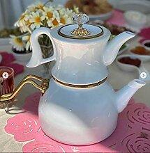 Türkische Emaille-Porzellan-Teekanne,