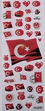 Türkische Flagge 2 Face Sticker Aufkleber
