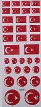 Türkische Flagge 3 Face Sticker Aufkleber