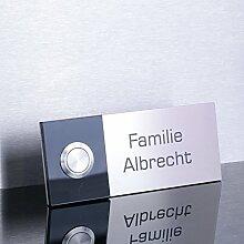 Türklingel mit Acrylglas 120 x 50 mm Klingelplatte Edelstahl Haustürklingel Klingel Klingelschild 109.BL.ATS20
