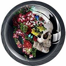 Türknäufe aus Glas mit Totenkopf-Motiv, rund,