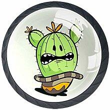 Türknäufe, rund, Glas, mit Schrauben, Kaktus, 4