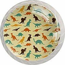 Türknauf aus Glas, mit Hundepfoten-Motiv, 4 Stück