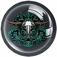 Türknauf mit Totenkopf-Motiv, rund, für Schrank,