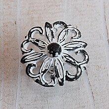 Türknopf Eisen Metall Möbelknopf grau - schwarz Blume Möbelgriff Landhaus Shabby